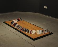 Dan Panorama, 2009 Paper napkins, synthetic grass, parquet, 150x65x15cm