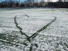 Heart Shape Line Made by Walking on the Snow, Princeton, 2011 Digital Photograph,