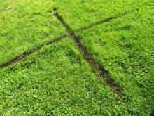 Crossing lines made by walking with mud on boots, neighbours lawn, Princeton 2011Digital