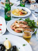Greece, Santorini, food, greek, shrimp, meal, dine, seafood, outdoors, vacation