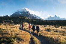 Hike to Glacier Grey, Torres del Paine National Park, Patagonia, Chile.