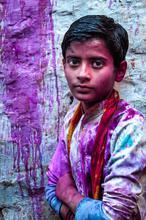 India, Barsana, Holi Festival, Portrait