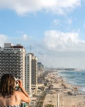 Israel, Tel Aviv, Beach, City View